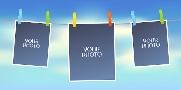 Design element of sky on background and empty frames for photo or pictures