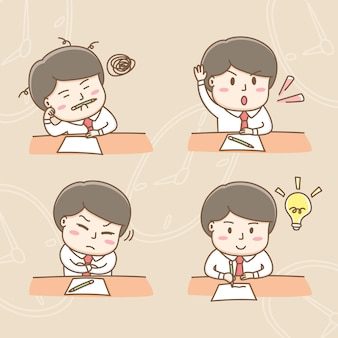 Design element vector of cute businessman cartoon characters in the office meeting actions