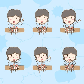 Design element vector of cute male reporter cartoon character in reporting actions breaking news