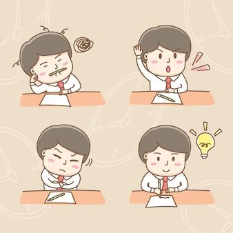 Вектор элемента дизайна милых персонажей мультфильма бизнесмена в офисе встречи действий