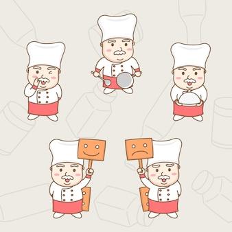 다양 한 작업에 귀여운 남성 수석 요리사 만화 캐릭터의 디자인 요소 벡터