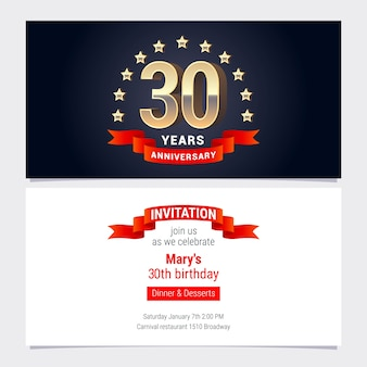 Design element with golden number for birthday card