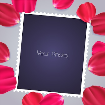 Design element with rose petals and templates for photo insertion