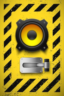 スピーカーとボタンを備えたデザイン要素。