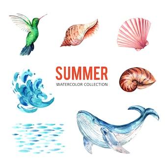 Progetti l'elemento con l'acquerello, illustrazione creativa di vettore di tema del sealife.