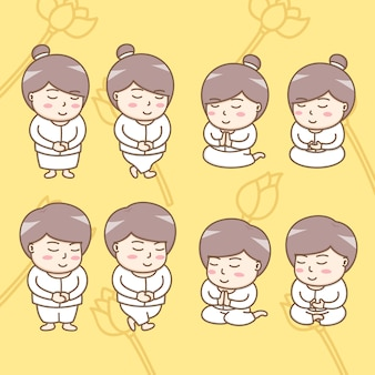 Design elements of cute buddhist cartoon characters in action of spiritual practices.