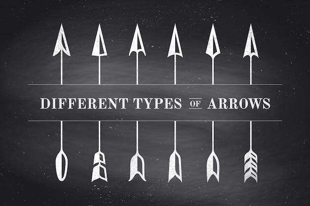 レトロなスタイルのさまざまな種類の矢印のデザイン要素
