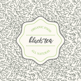Design elements of hand drawn pattern in trendy linear style for tea package for black tea.