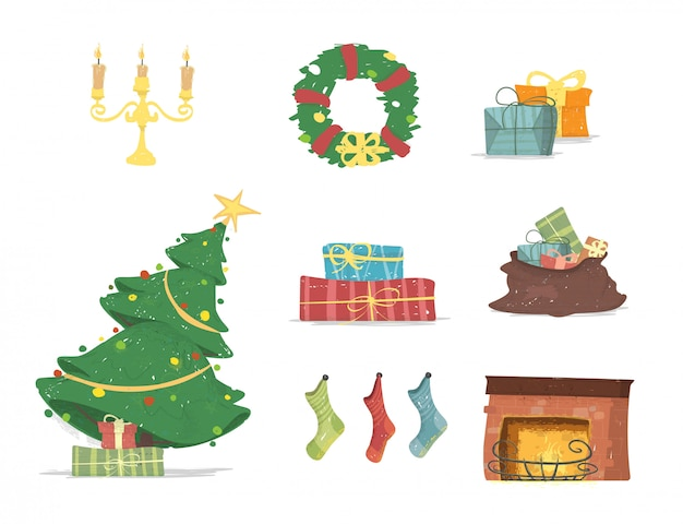 Design elements set for merry christmas cards