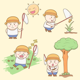 Design elements vector of cute fat boy cartoon characters playing around the garden.