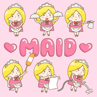 Design elements vector of cute maid cartoon character.