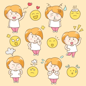 Design elements vector of cute woman cartoon character.