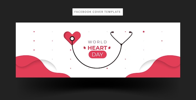 Design of facebook fanpage banner with world heart celebration theme