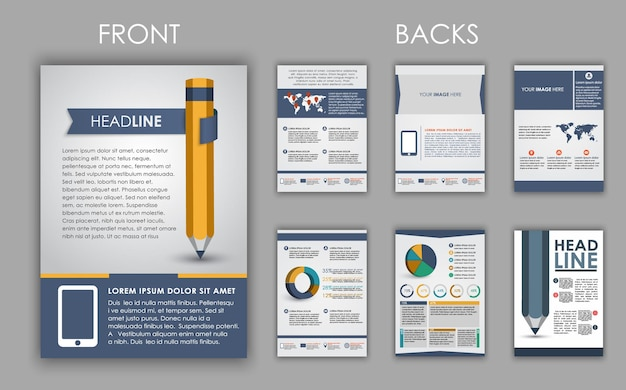 Design of flyers, brochures and booklets with elements of infographics and a pencil. set