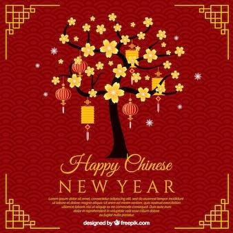 ツリーと中国の新年のためのデザイン
