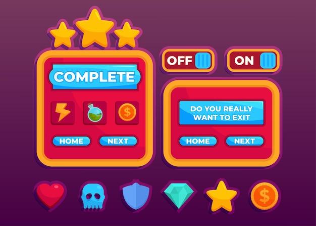 中世のrpgビデオゲームを作成するためのスコアボタンゲームのポップアップ、アイコン、ウィンドウ、および要素の完全なセットの設計