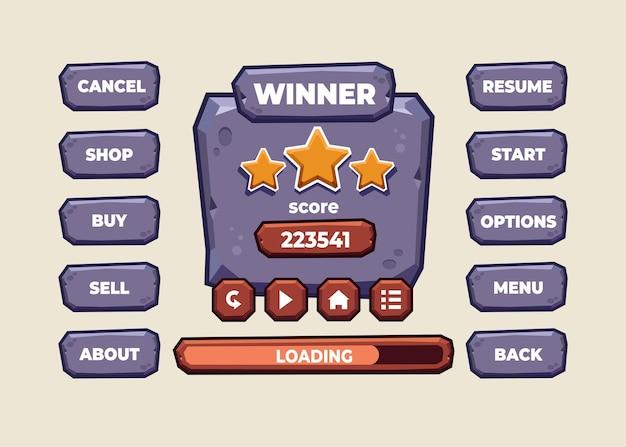 중세 rpg 비디오 게임을 만들기위한 점수 버튼 게임 팝업, 아이콘, 창 및 요소의 전체 세트를위한 디자인