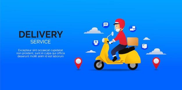 파란색 배경에서 모바일 배달 서비스를위한 디자인