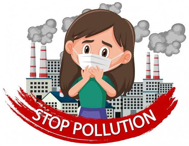 マスクを身に着けている女の子と停止汚染の設計