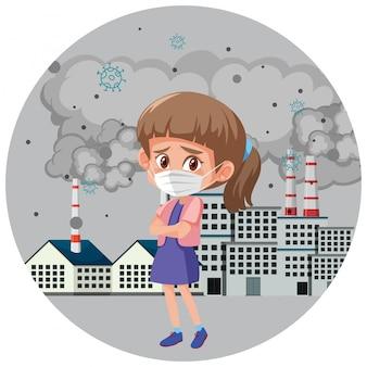 工場の前でマスクを身に着けている病気の女の子と停止汚染の設計