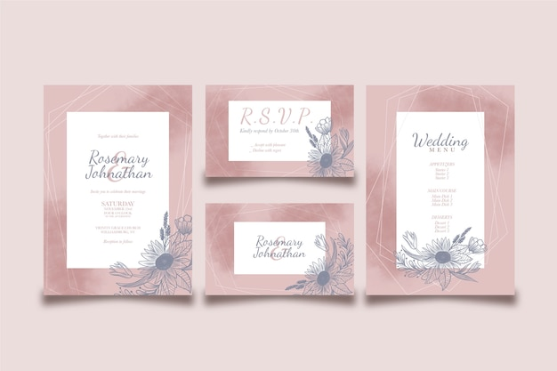 Дизайн для свадебного меню и приглашения