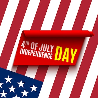 Design of greeting card for independence day. red ribbon and flag of usa. 4th of july.