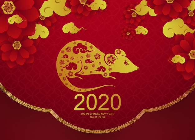 Design  happy chinese new year with golden rat new year greeting card illustration