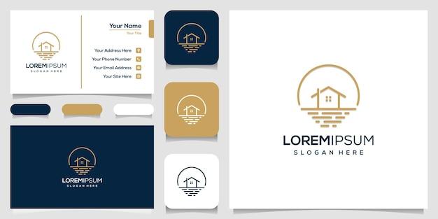 가정 및 바다 로고 템플릿 및 명함 디자인