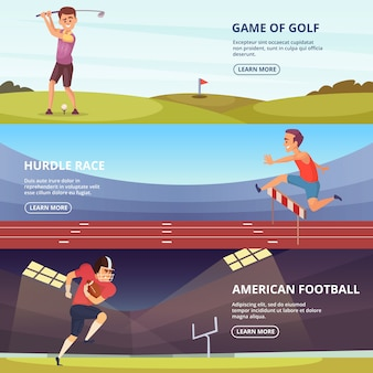 Design of horizontal banners with sport peoples in action poses