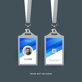 Design of id card template with blue gradient shapes modern template