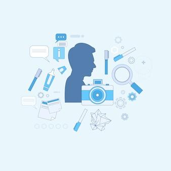 デザインアイデアグラフィックデザイナーの描画アイコンウェブバナーのベクトル図