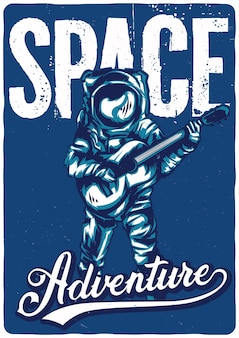 Design illustration of astronaut with guitar