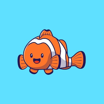Design illustration of cute cartoon character clownfish isolated.