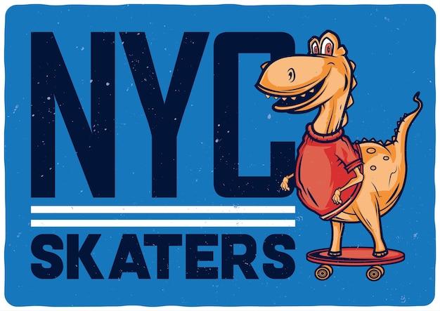 Illustrazione di design del dinosauro sullo skateboard