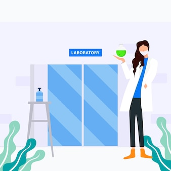 Design illustration of doctor holding vaccine in front of laboratory Premium Vector