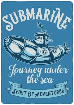 Design illustration of funny submarine