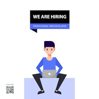 Design and illustration of job vacancy professional web developer