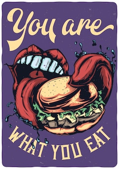 Дизайн иллюстрация большой рот ест большой гамбургер