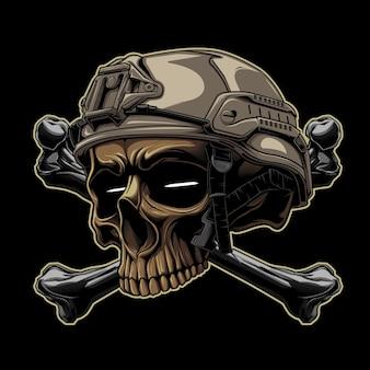 어두운 배경에서 디자인 일러스트 전술 해골