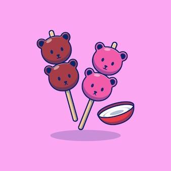 Дизайн иллюстрации вектор торт данго со вкусом шоколада и клубники с молочным соусом