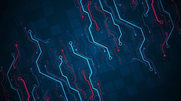 어두운 파란색 배경에 대각선 스타일의 전자 회로 개념으로 디자인합니다.