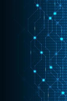 진한 파란색 배경에 전자 회로 기판의 개념으로 디자인합니다.