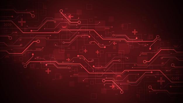 어두운 빨간색 배경에 전자 회로 기판의 개념으로 디자인합니다.