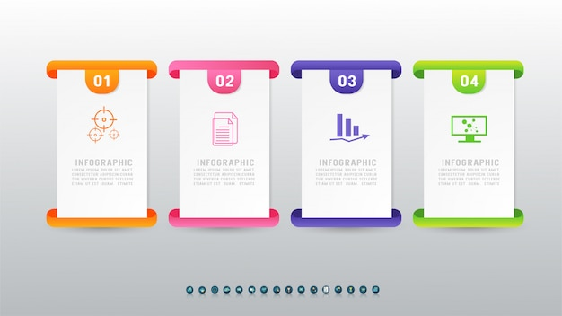 インフォグラフィックグラフ要素の4つのオプションをデザインします。