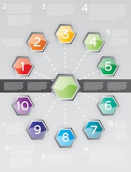 10のオプションでインフォグラフィックをデザインします。ベクトルイラスト。