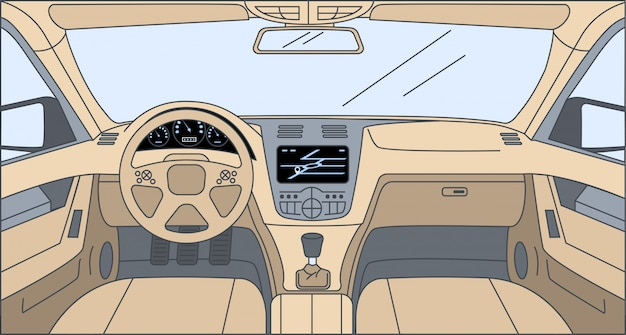 자동차 만화 개요 그림 안에 디자인. 네비게이터, 방향타, 대시 보드가있는 운전자보기.
