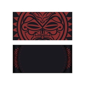 Design an invitation with a place for your text and a face in polizenian style patterns. black color postcard design with mask of the gods.