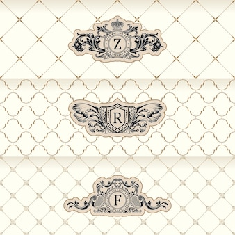 Design labels and horizontal frames packaging on seamless background