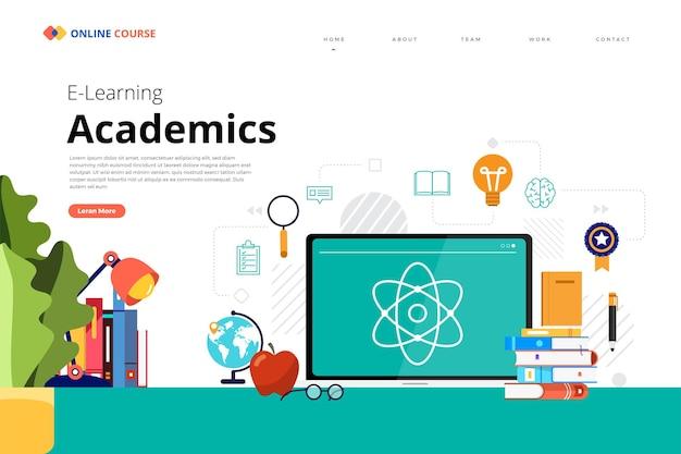 Дизайн целевой страницы веб-сайт образование онлайн-курс академики
