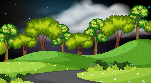 Design of landscape with park at night